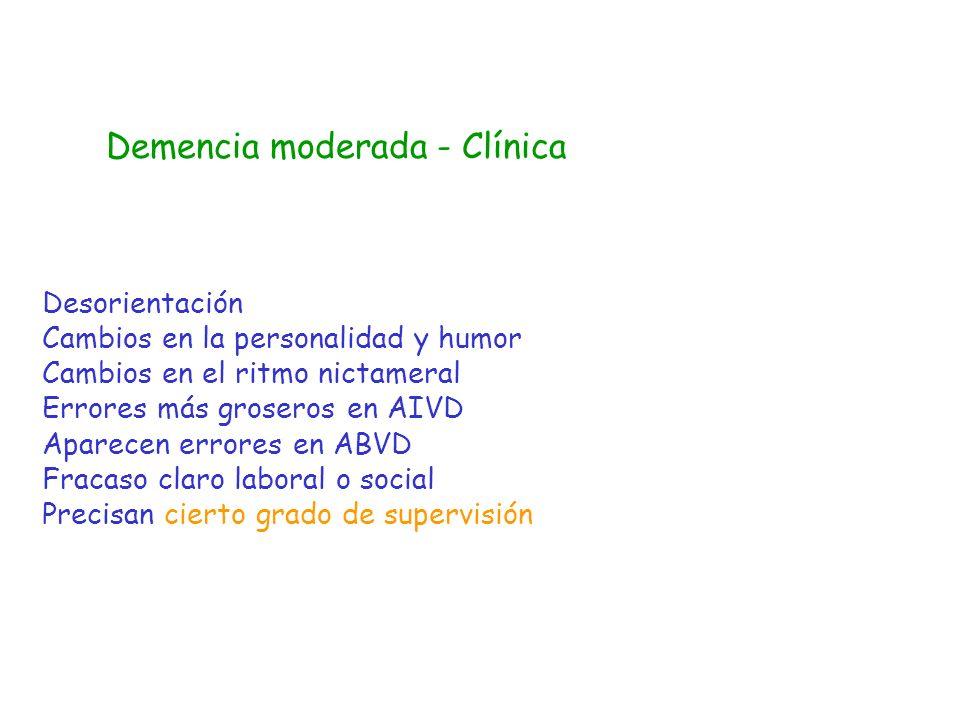 Demencia moderada - Clínica