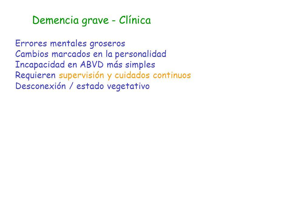 Demencia grave - Clínica
