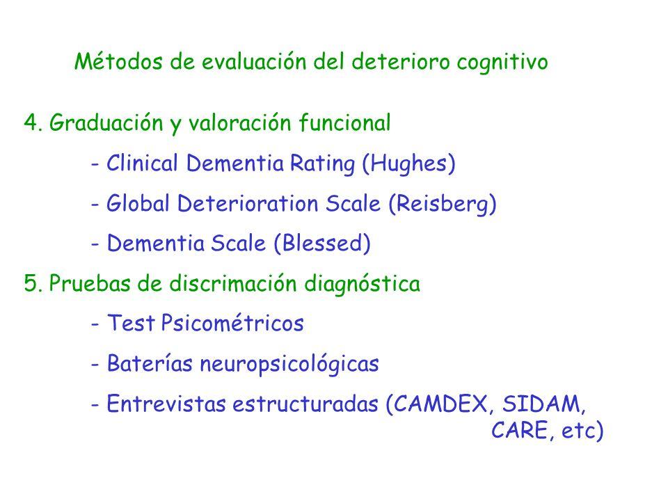 Métodos de evaluación del deterioro cognitivo