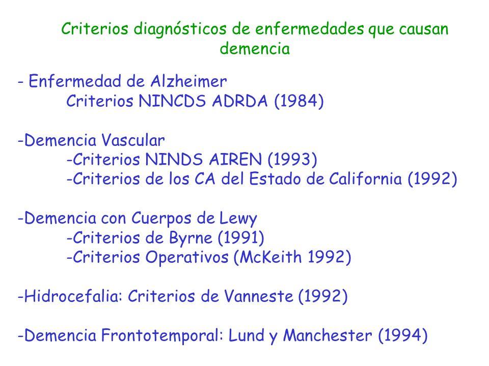 Criterios diagnósticos de enfermedades que causan demencia