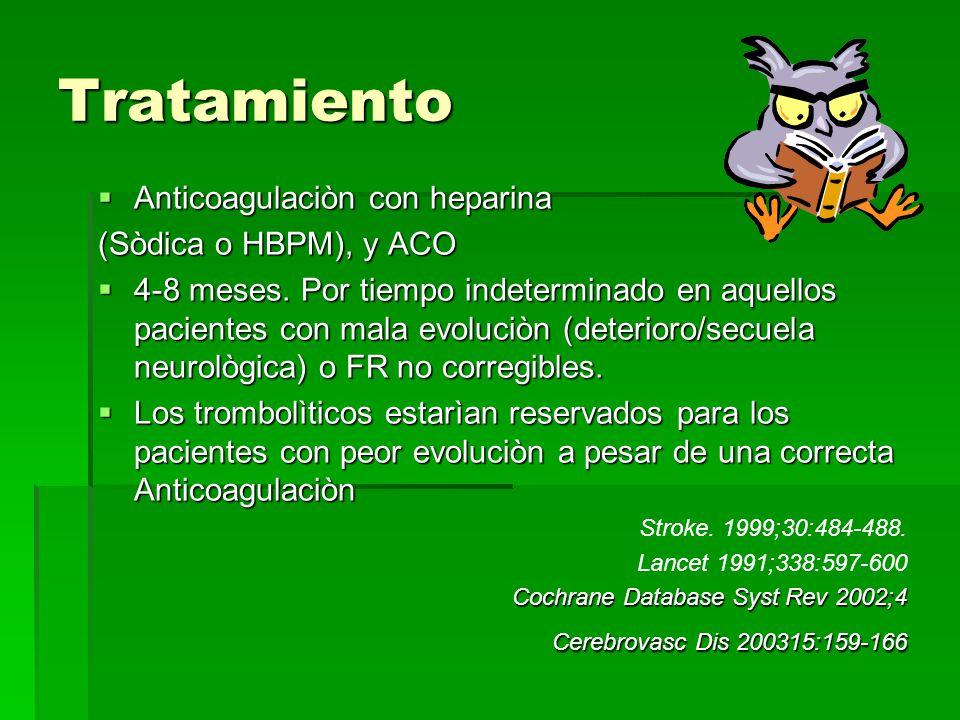 Tratamiento Anticoagulaciòn con heparina (Sòdica o HBPM), y ACO