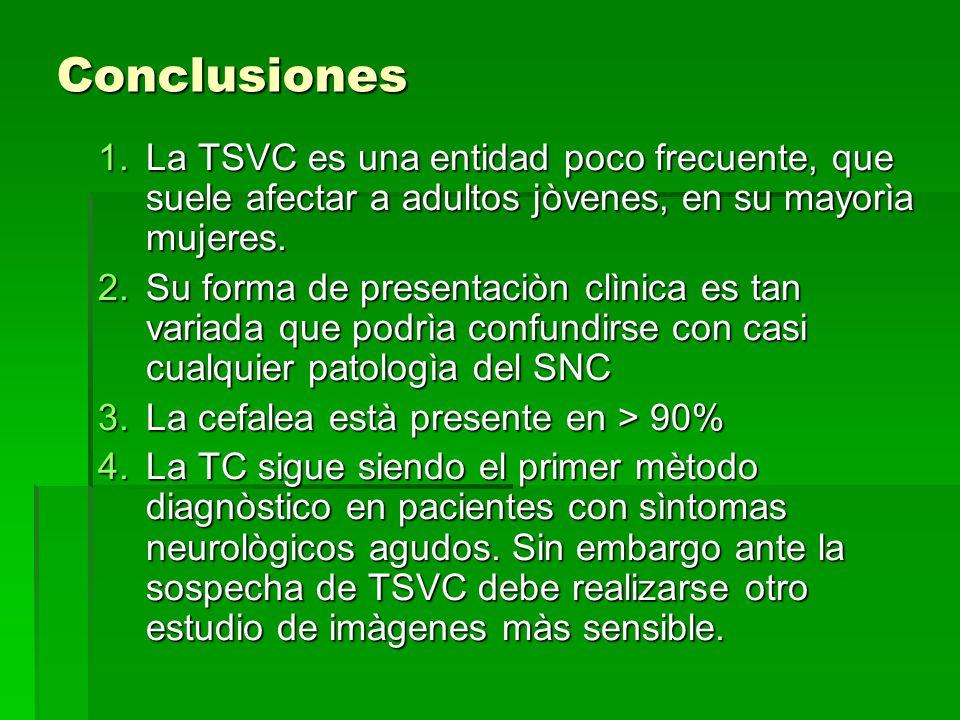 Conclusiones La TSVC es una entidad poco frecuente, que suele afectar a adultos jòvenes, en su mayorìa mujeres.