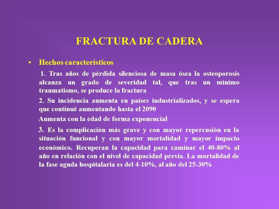 FRACTURA DE CADERA Hechos característicos
