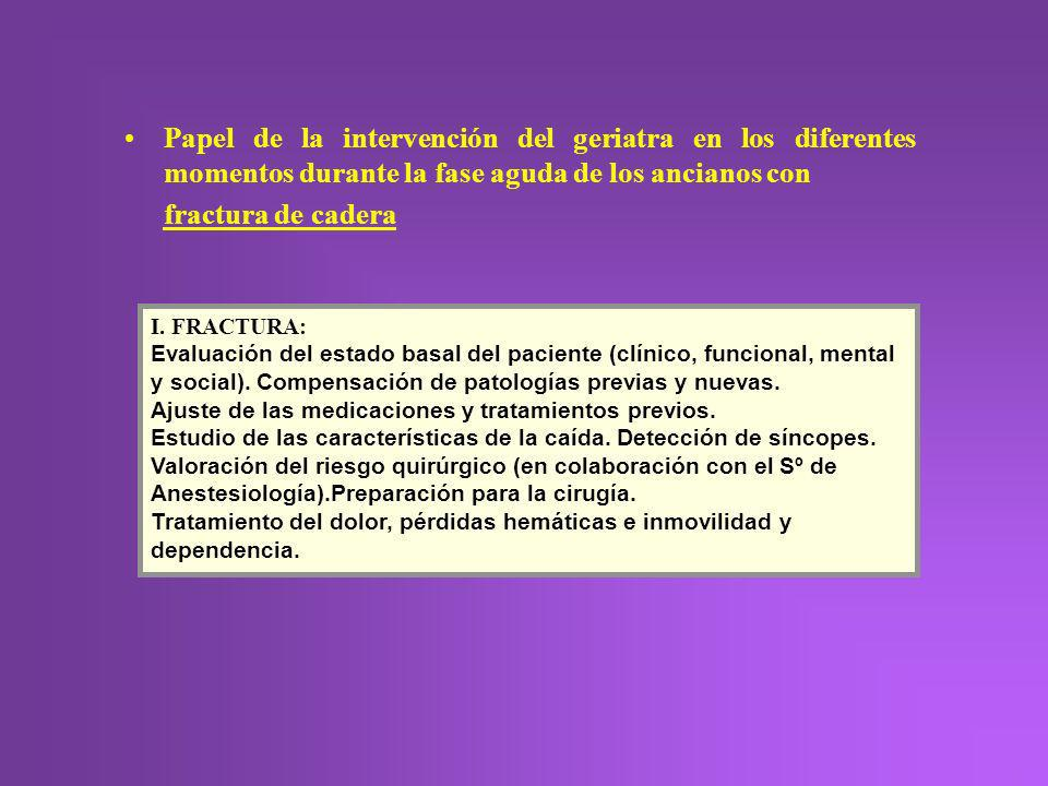 Papel de la intervención del geriatra en los diferentes momentos durante la fase aguda de los ancianos con