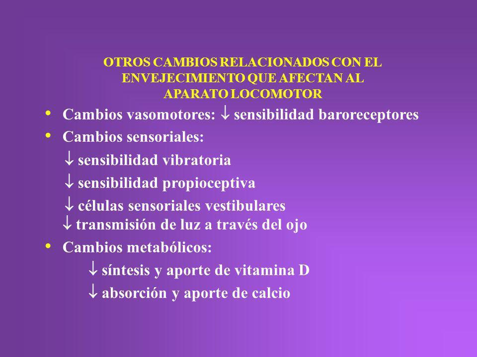 Cambios vasomotores:  sensibilidad baroreceptores