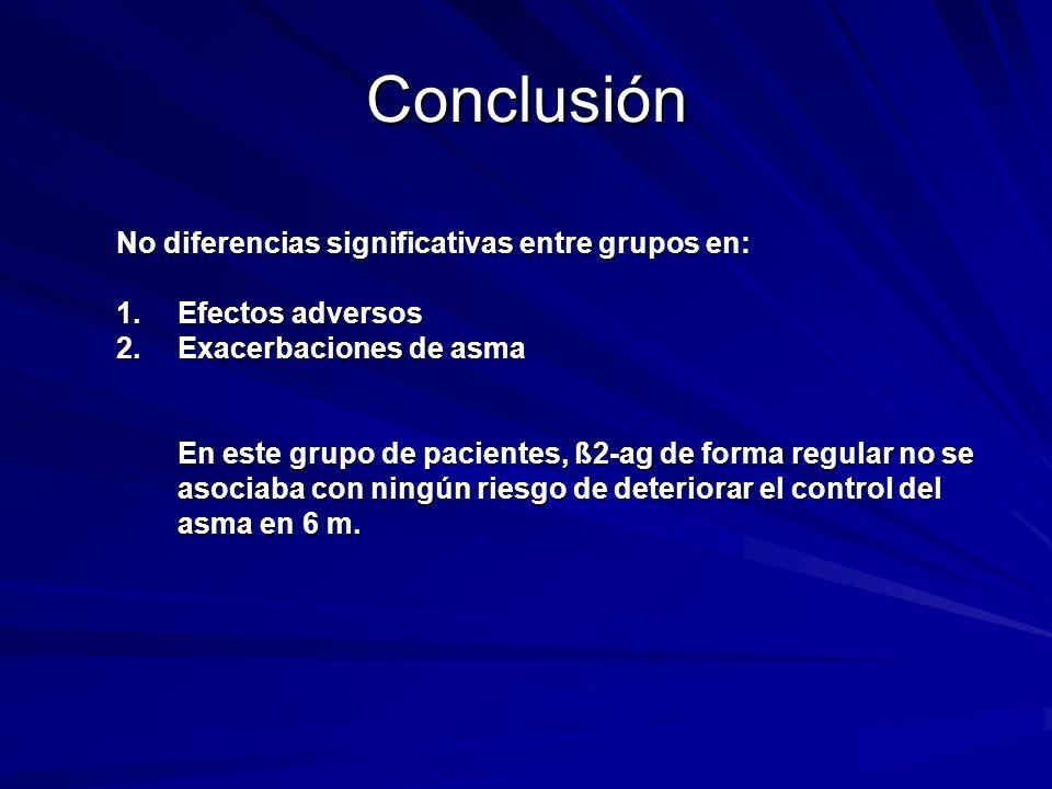 Conclusión No diferencias significativas entre grupos en: