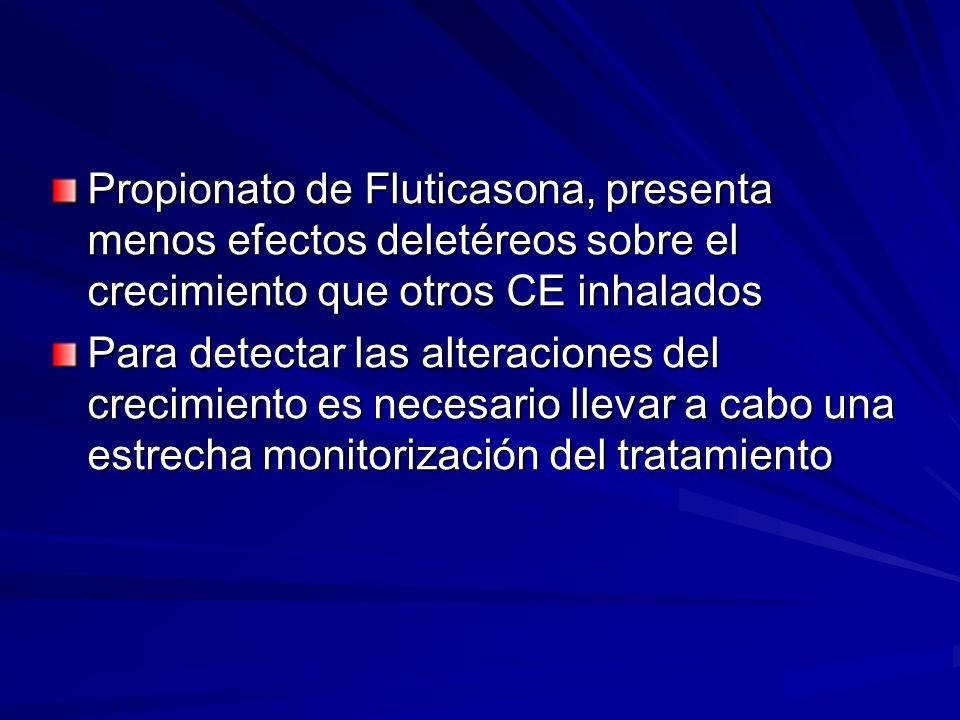 Propionato de Fluticasona, presenta menos efectos deletéreos sobre el crecimiento que otros CE inhalados