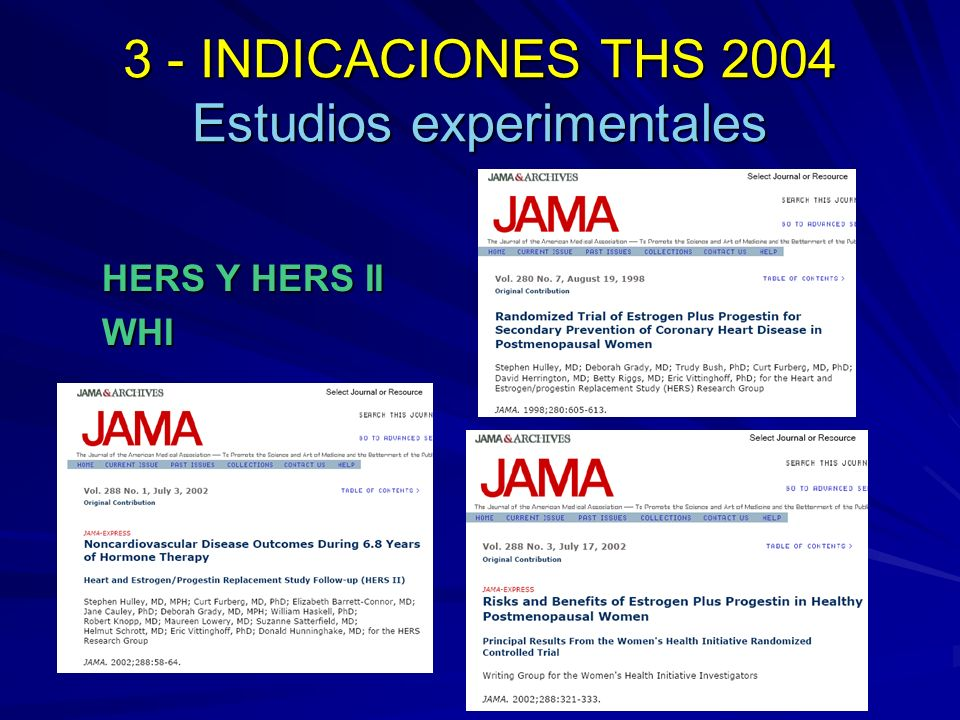 3 - INDICACIONES THS 2004 Estudios experimentales