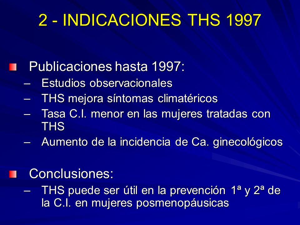 2 - INDICACIONES THS 1997 Publicaciones hasta 1997: Conclusiones: