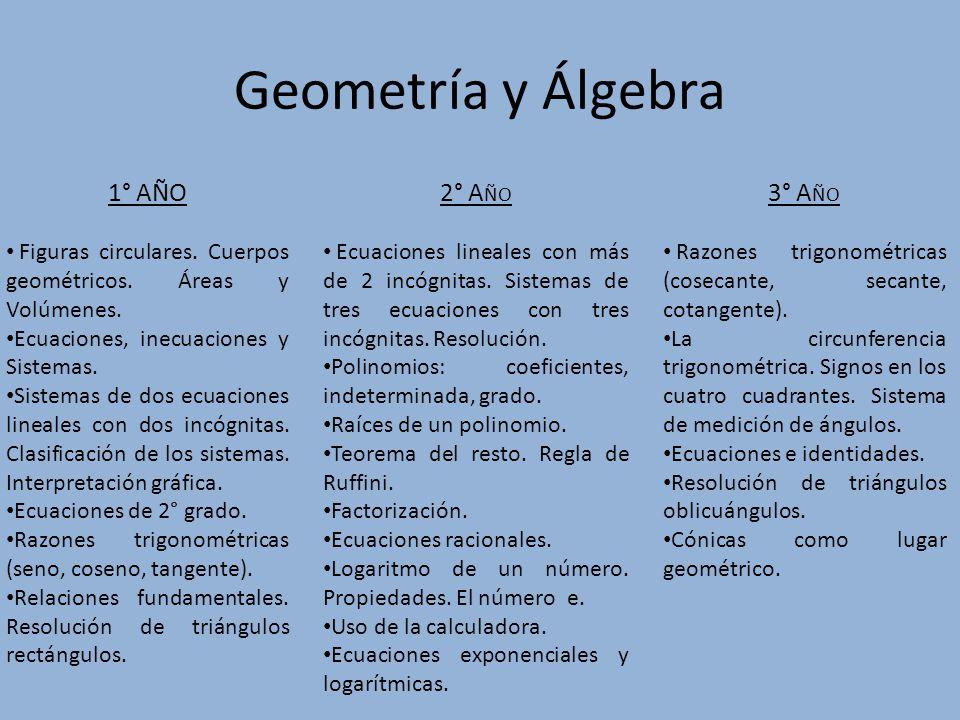 Geometría y Álgebra 1° Año 2° Año 3° Año