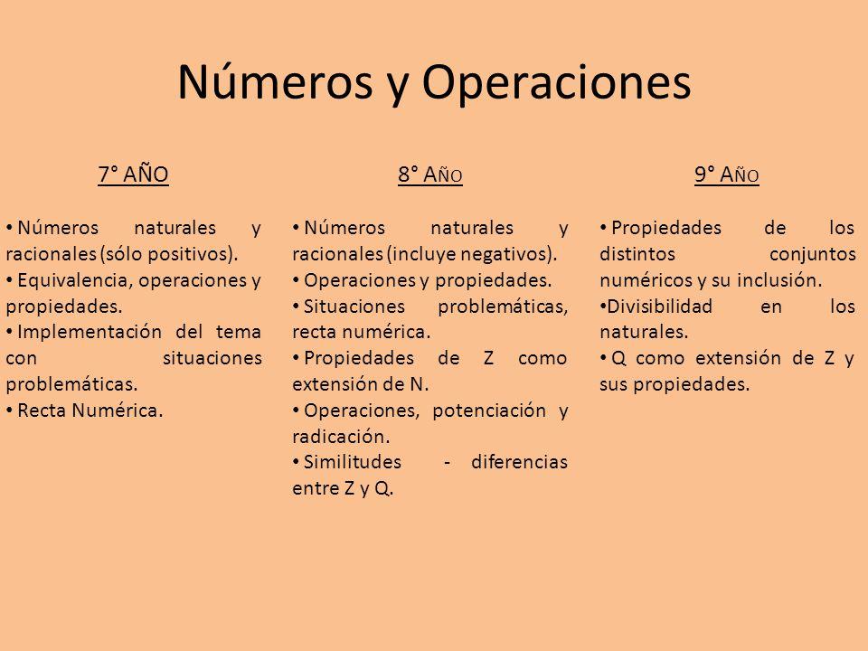 Números y Operaciones 7° Año 8° Año 9° Año