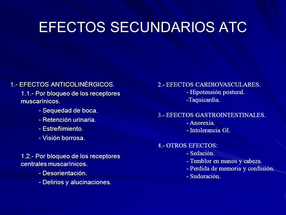 EFECTOS SECUNDARIOS ATC