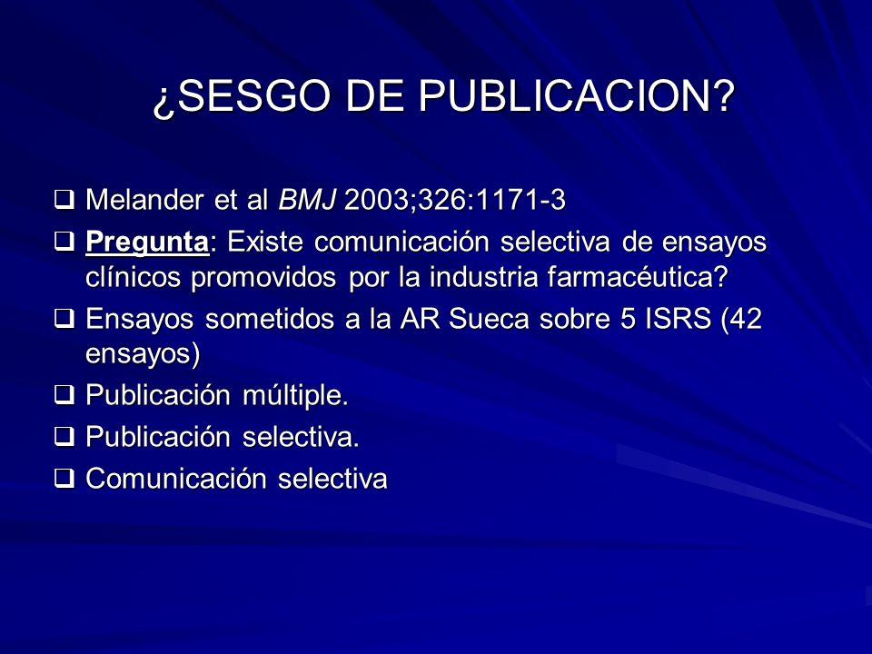 ¿SESGO DE PUBLICACION Melander et al BMJ 2003;326:1171-3