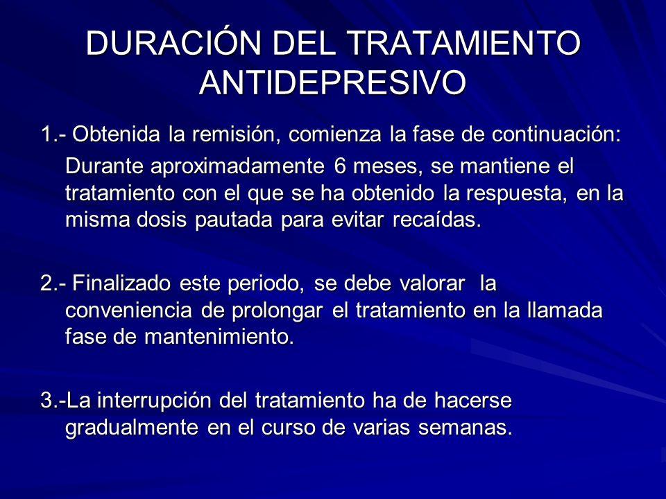 DURACIÓN DEL TRATAMIENTO ANTIDEPRESIVO