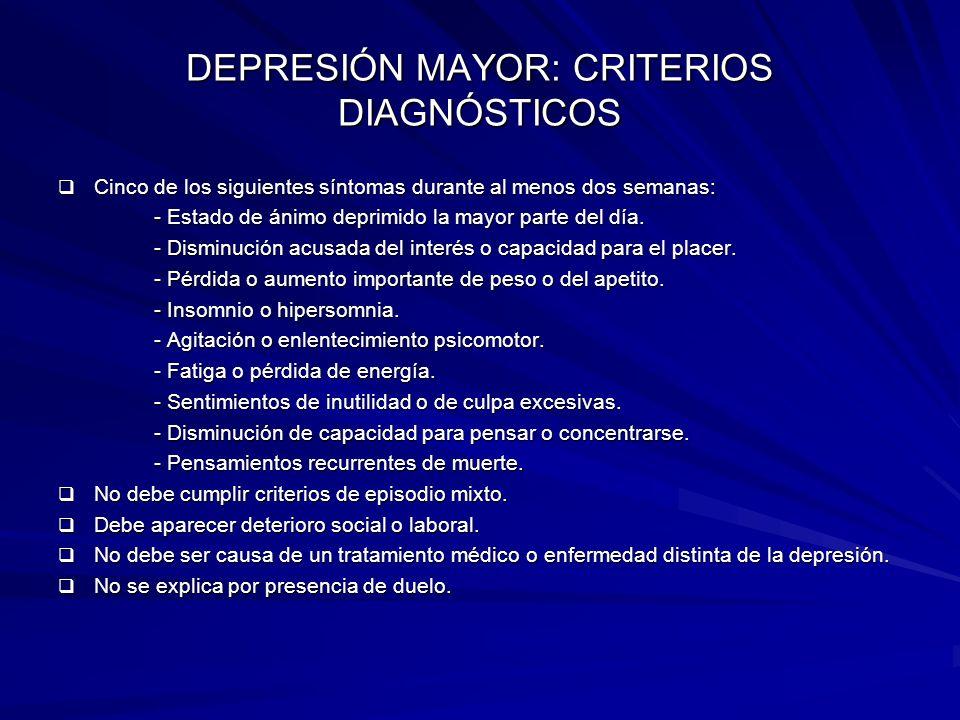 DEPRESIÓN MAYOR: CRITERIOS DIAGNÓSTICOS