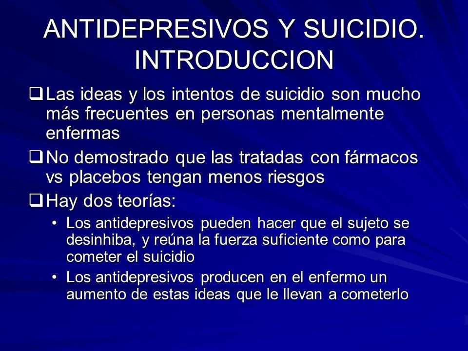 ANTIDEPRESIVOS Y SUICIDIO. INTRODUCCION