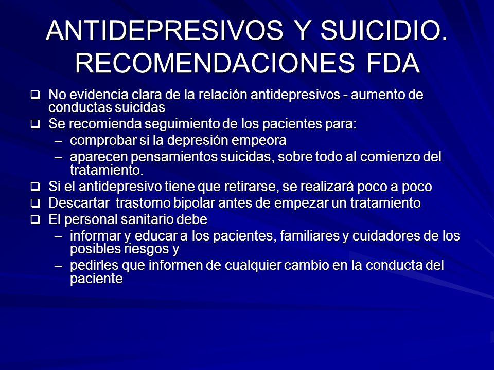 ANTIDEPRESIVOS Y SUICIDIO. RECOMENDACIONES FDA
