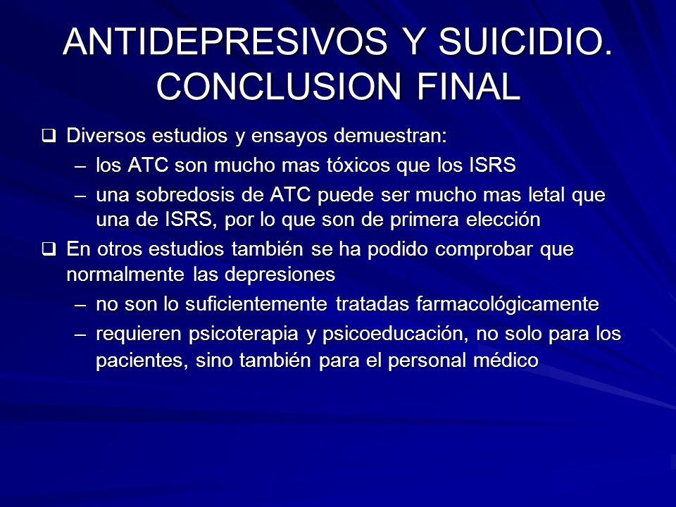ANTIDEPRESIVOS Y SUICIDIO. CONCLUSION FINAL