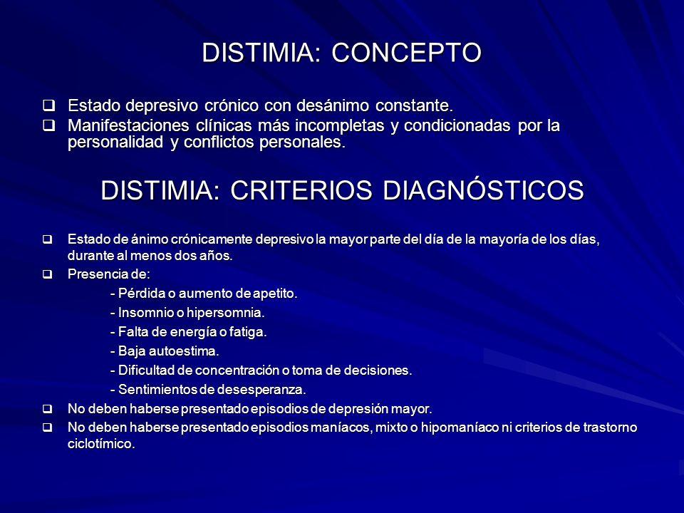 DISTIMIA: CRITERIOS DIAGNÓSTICOS