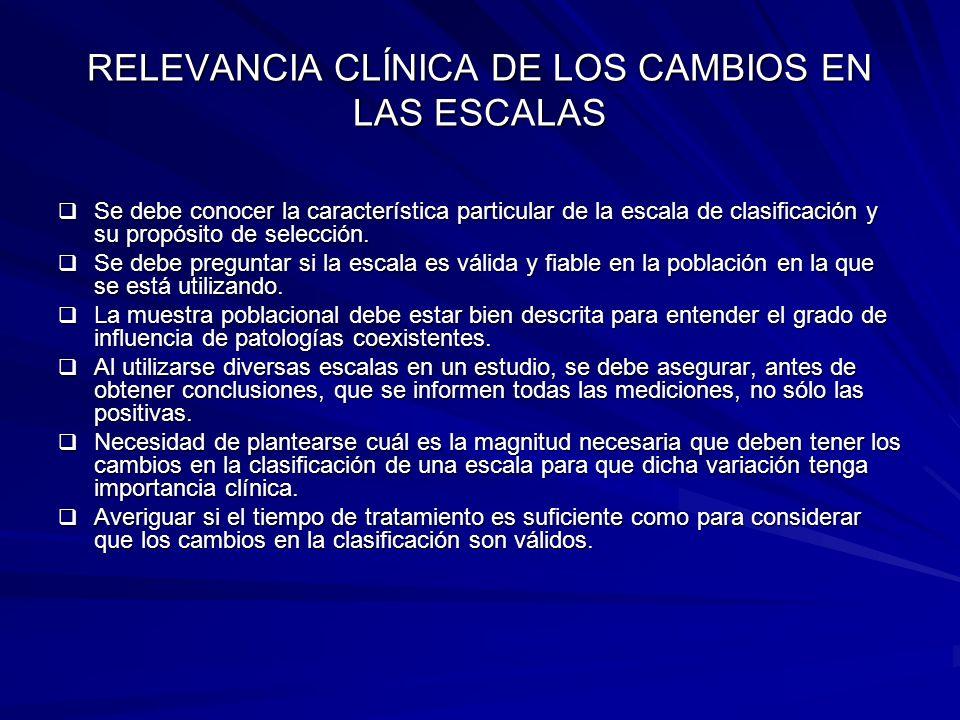 RELEVANCIA CLÍNICA DE LOS CAMBIOS EN LAS ESCALAS