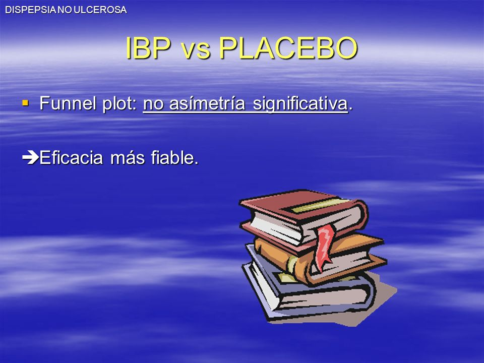 IBP vs PLACEBO Funnel plot: no asímetría significativa.