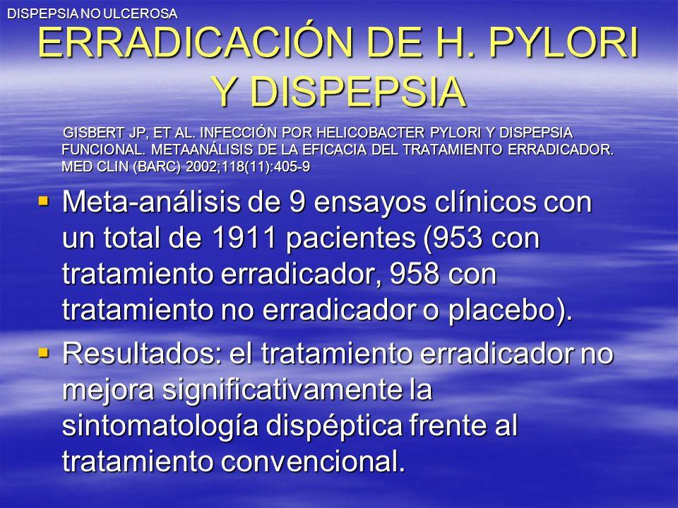 ERRADICACIÓN DE H. PYLORI Y DISPEPSIA
