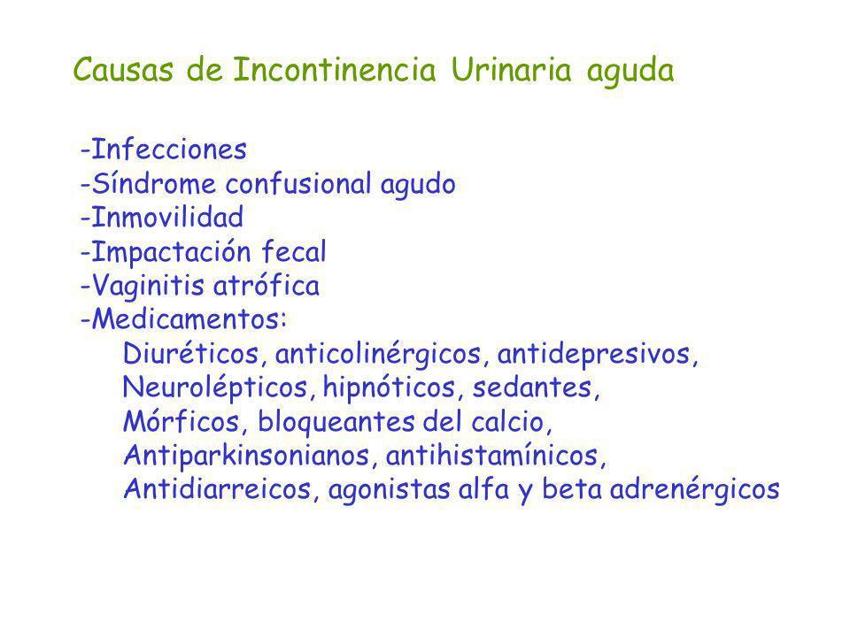 Causas de Incontinencia Urinaria aguda