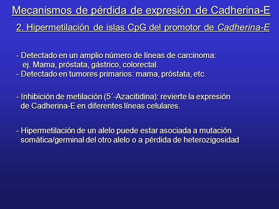 Mecanismos de pérdida de expresión de Cadherina-E