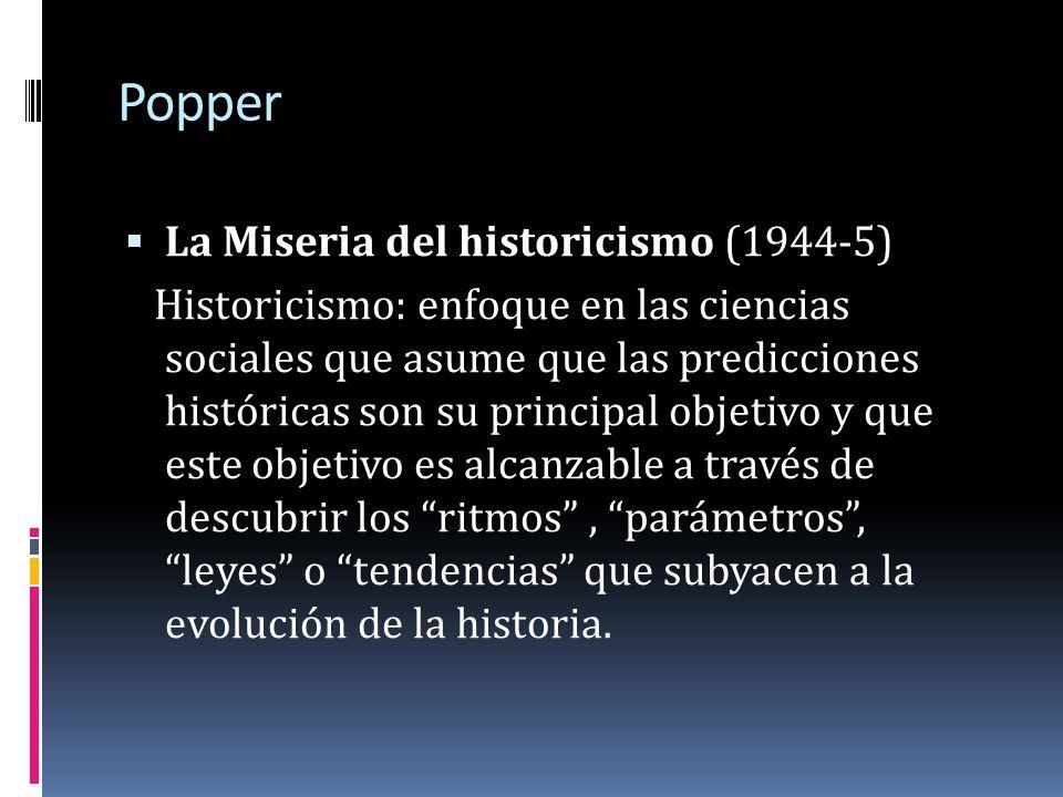 Popper La Miseria del historicismo (1944-5)