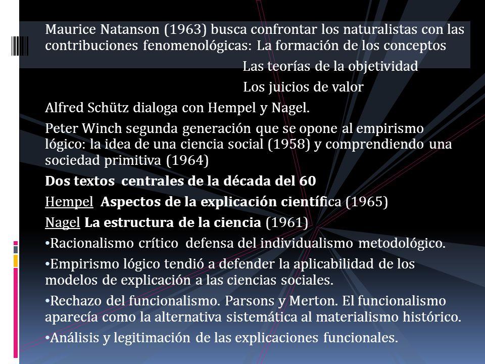 Maurice Natanson (1963) busca confrontar los naturalistas con las contribuciones fenomenológicas: La formación de los conceptos