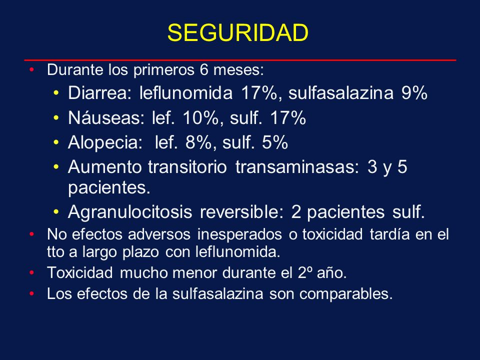 SEGURIDAD Diarrea: leflunomida 17%, sulfasalazina 9%