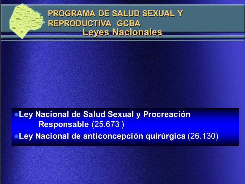 Leyes Nacionales PROGRAMA DE SALUD SEXUAL Y REPRODUCTIVA GCBA