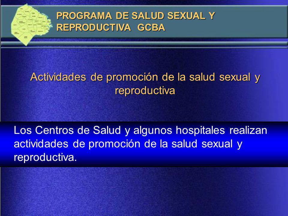 Actividades de promoción de la salud sexual y reproductiva