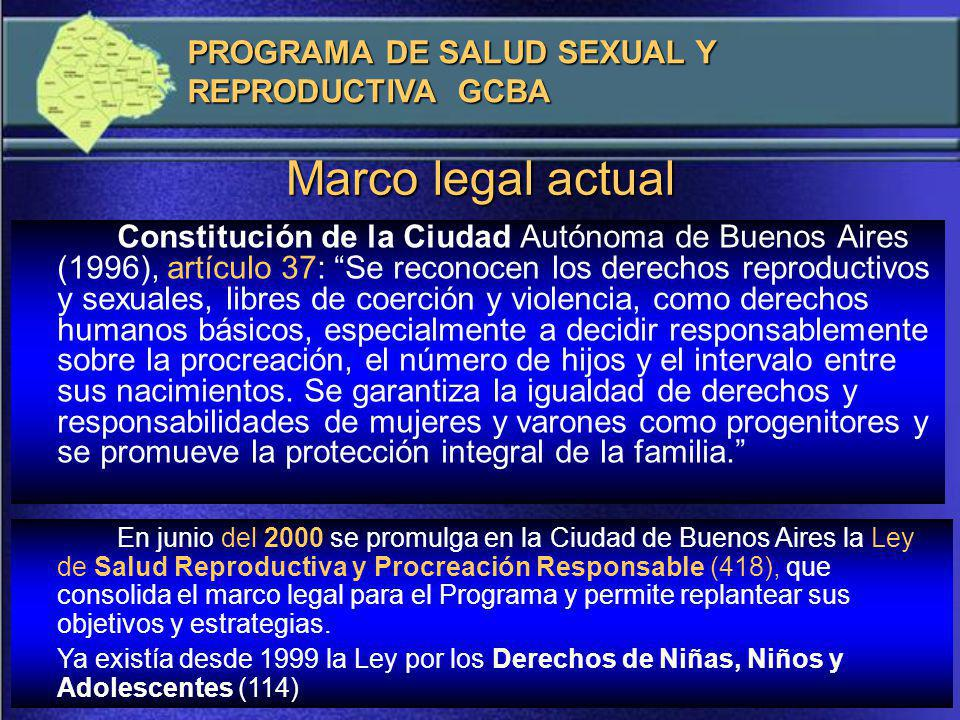 Marco legal actual PROGRAMA DE SALUD SEXUAL Y REPRODUCTIVA GCBA