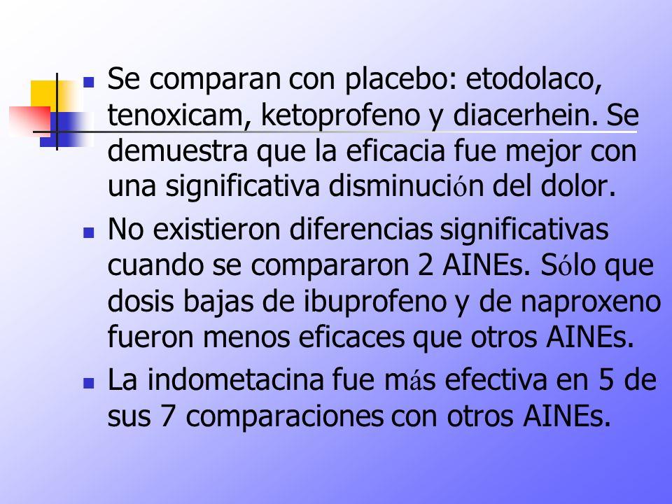 Se comparan con placebo: etodolaco, tenoxicam, ketoprofeno y diacerhein. Se demuestra que la eficacia fue mejor con una significativa disminución del dolor.