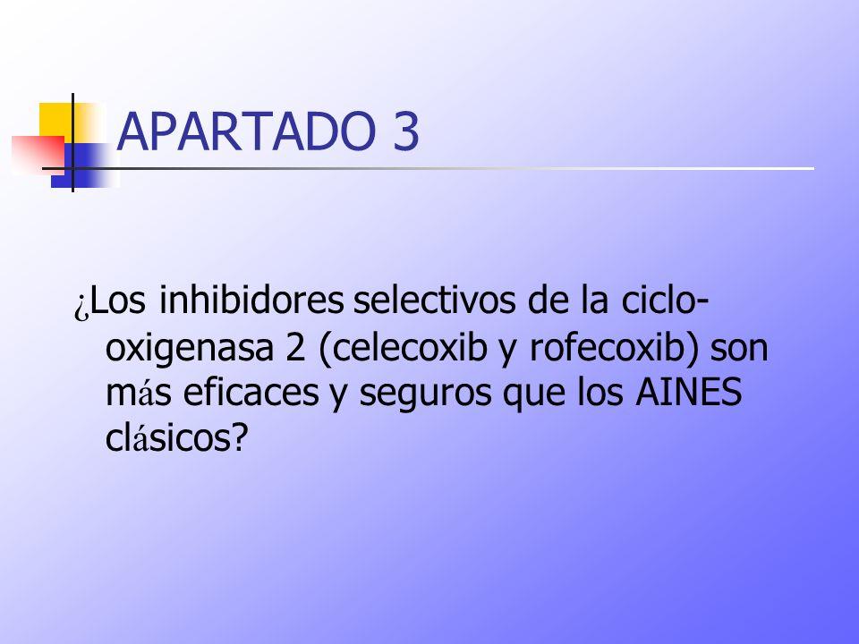 APARTADO 3 ¿Los inhibidores selectivos de la ciclo-oxigenasa 2 (celecoxib y rofecoxib) son más eficaces y seguros que los AINES clásicos