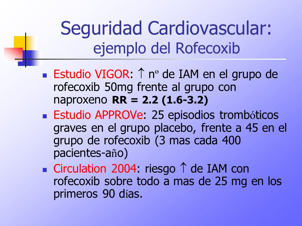 Seguridad Cardiovascular: ejemplo del Rofecoxib
