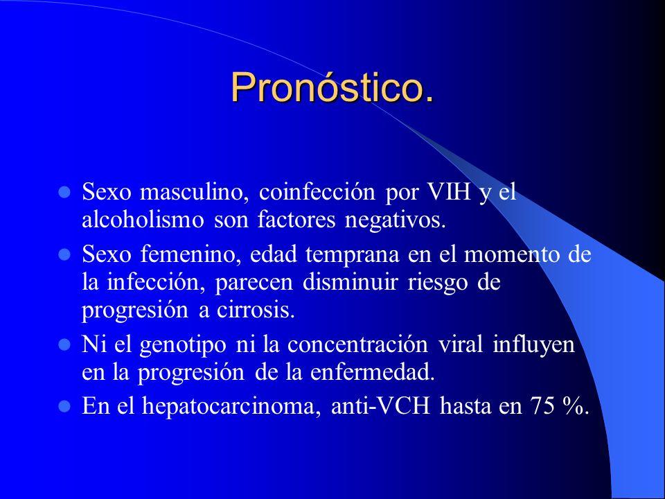 Pronóstico. Sexo masculino, coinfección por VIH y el alcoholismo son factores negativos.