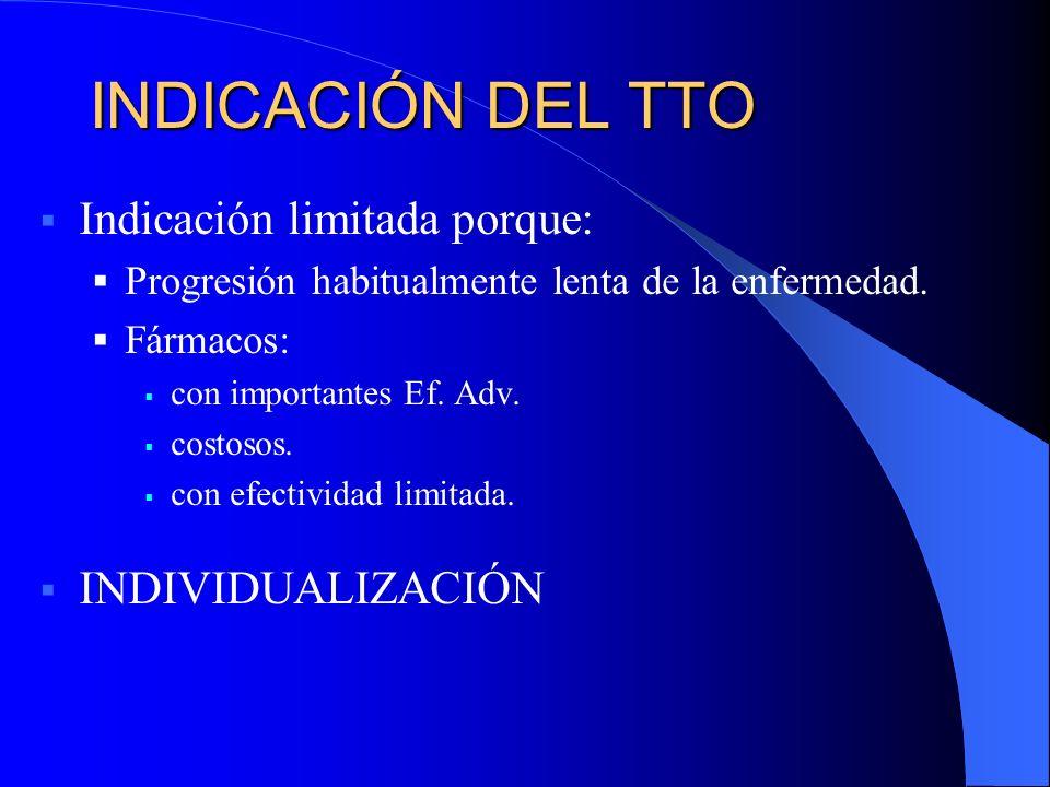 INDICACIÓN DEL TTO Indicación limitada porque: INDIVIDUALIZACIÓN