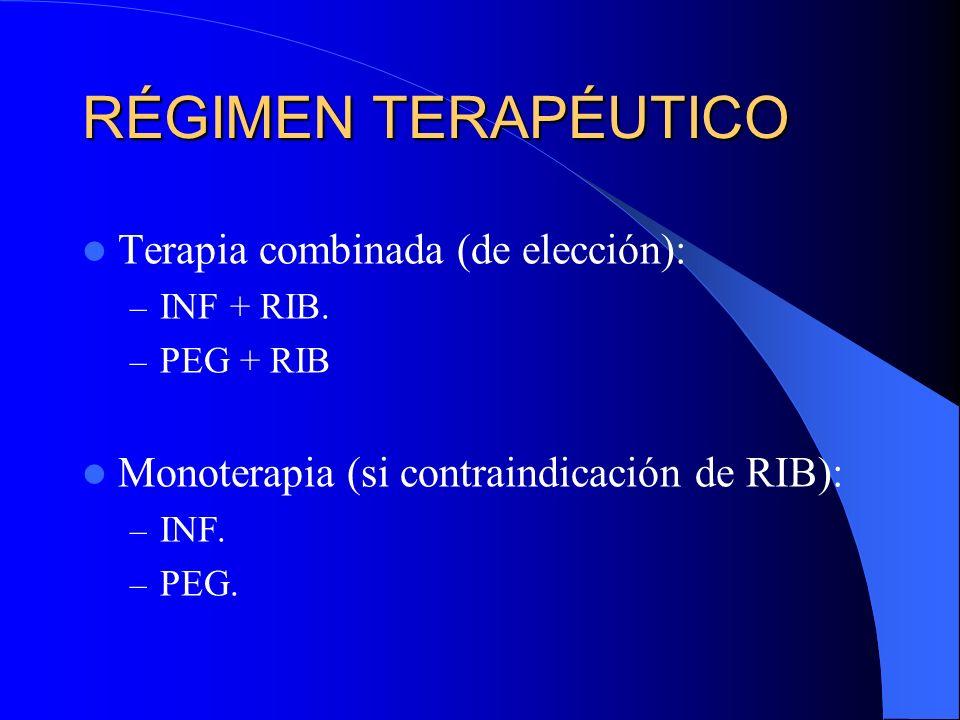 RÉGIMEN TERAPÉUTICO Terapia combinada (de elección):