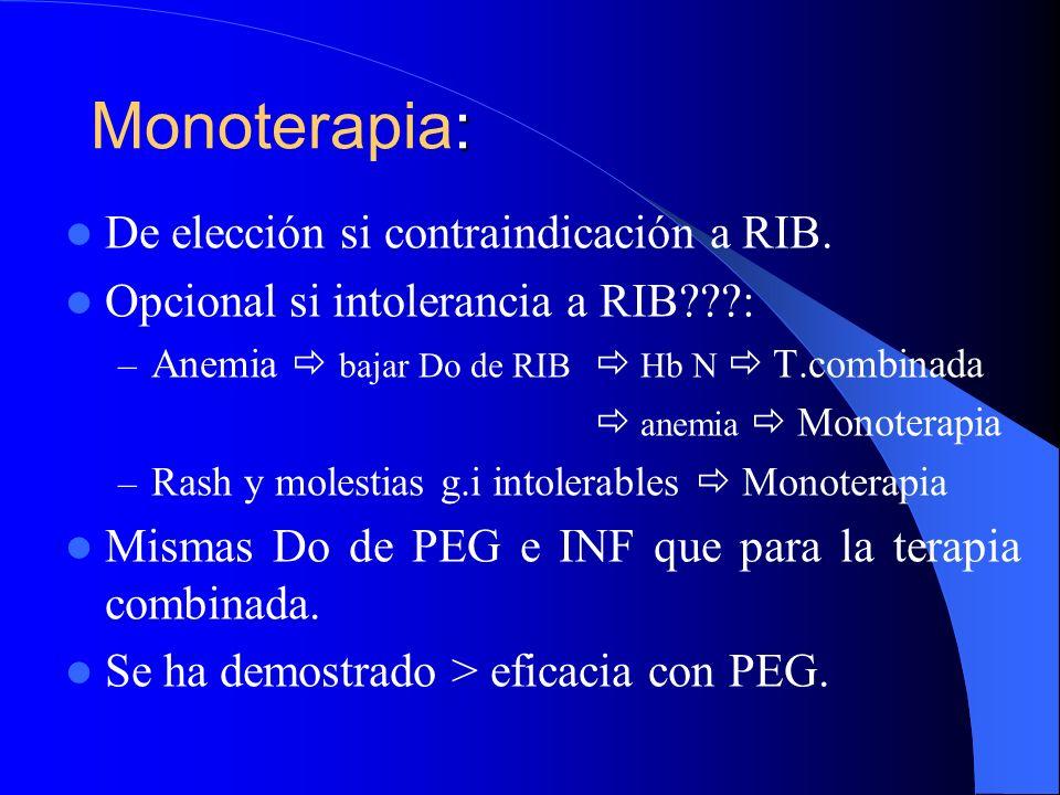 Monoterapia: De elección si contraindicación a RIB.