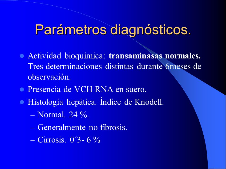 Parámetros diagnósticos.