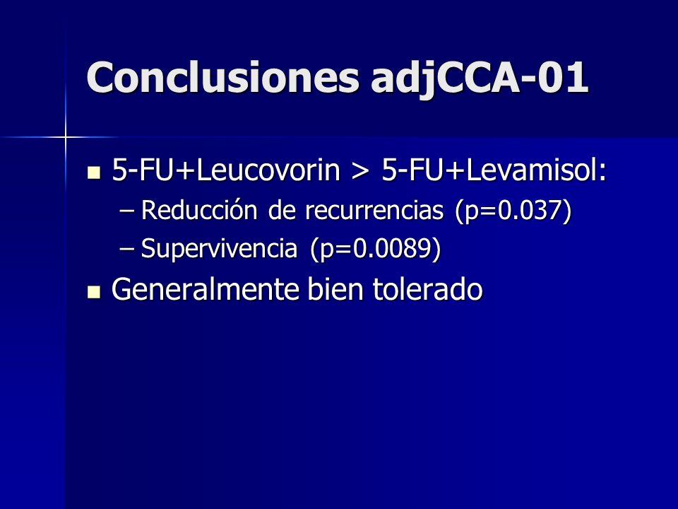 Conclusiones adjCCA-01 5-FU+Leucovorin > 5-FU+Levamisol: