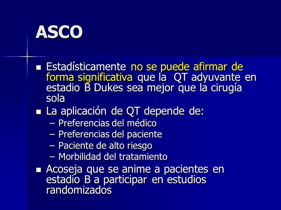 ASCO Estadísticamente no se puede afirmar de forma significativa que la QT adyuvante en estadio B Dukes sea mejor que la cirugía sola.