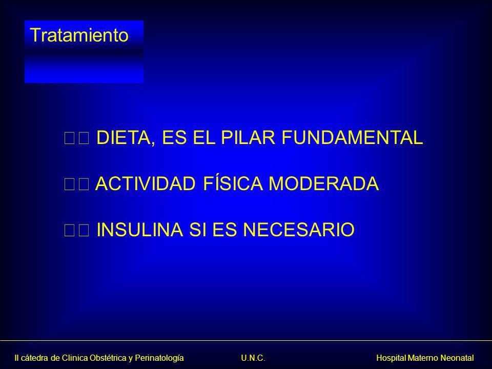 Tratamiento  DIETA, ES EL PILAR FUNDAMENTAL  ACTIVIDAD FÍSICA MODERADA  INSULINA SI ES NECESARIO
