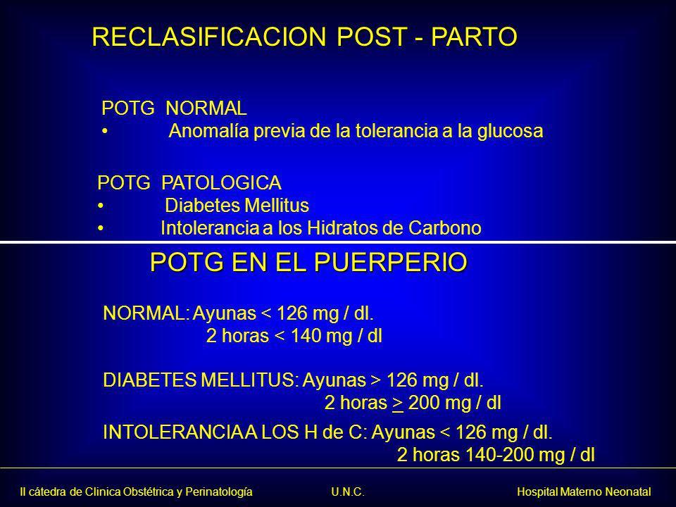 RECLASIFICACION POST - PARTO