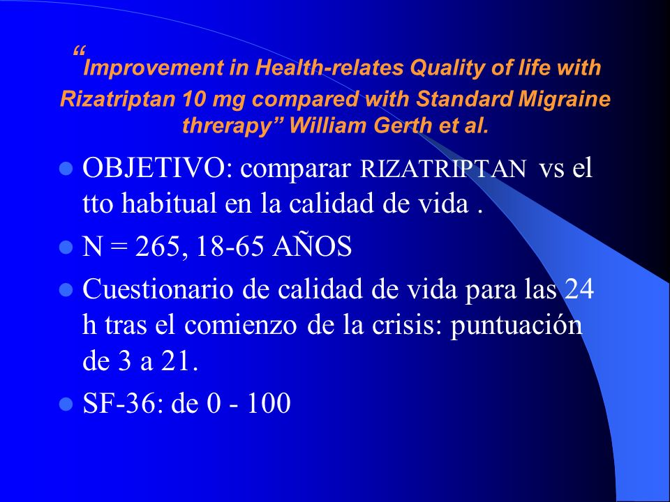Improvement in Health-relates Quality of life with Rizatriptan 10 mg compared with Standard Migraine threrapy William Gerth et al.