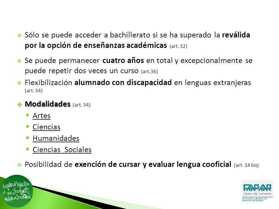 Sólo se puede acceder a bachillerato si se ha superado la reválida por la opción de enseñanzas académicas (art. 32)