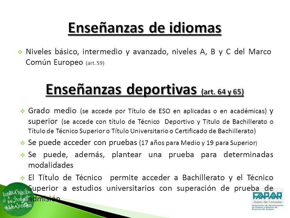 Enseñanzas deportivas (art. 64 y 65)