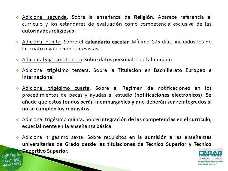 Adicional segunda. Sobre la enseñanza de Religión
